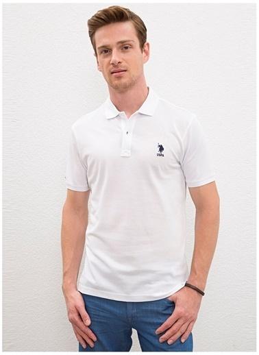 U.S. Polo Assn. U.S. Polo Assn. Erkek Slim Fit Düz Beyaz Polo Yaka T-Shirt Beyaz